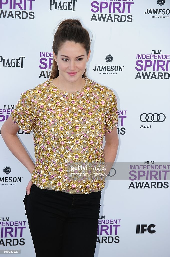 Actress Shailene Woodley arrives on the red carpet on February 25, 2012 for the Independent Spirit Awards in Santa Monica, California. AFP PHOTO/FREDERIC J.BROWN