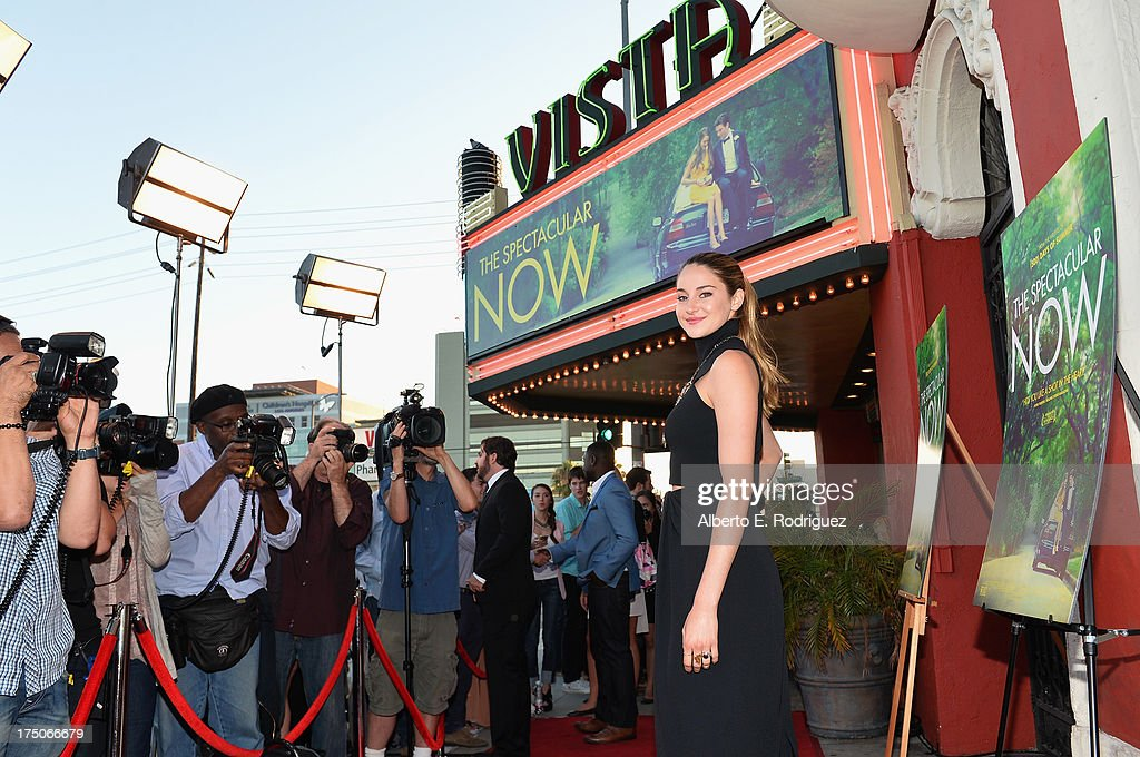 Actress <a gi-track='captionPersonalityLinkClicked' href=/galleries/search?phrase=Shailene+Woodley&family=editorial&specificpeople=676833 ng-click='$event.stopPropagation()'>Shailene Woodley</a> arrives to a screening of A24's 'The Spectacular Now' at the Vista Theatre on July 30, 2013 in Los Angeles, California.