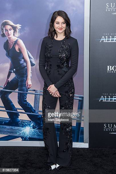 Actress Shailene Woodley attends the 'Allegiant' New York Premiere at AMC Loews Lincoln Square 13 theater on March 14 2016 in New York City