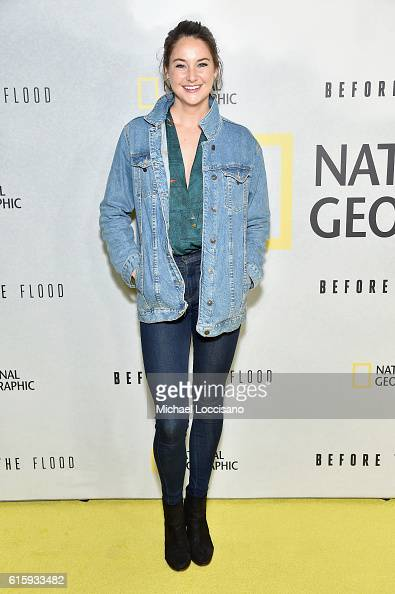 Actress Shailene Woodley attends the National Geographic Channel 'Before the Flood' screening at United Nations Headquarters on October 20 2016 in...