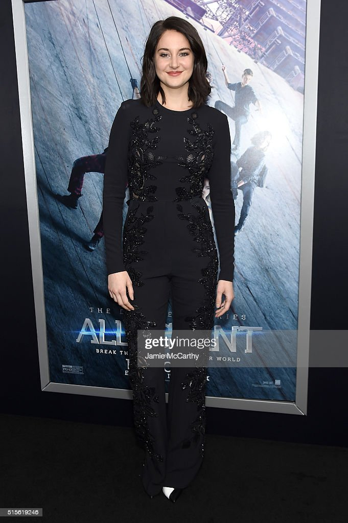 Actress Shailene Woodley attends the New York premiere of 'Allegiant' at the AMC Lincoln Square Theater on March 14 2016 in New York City