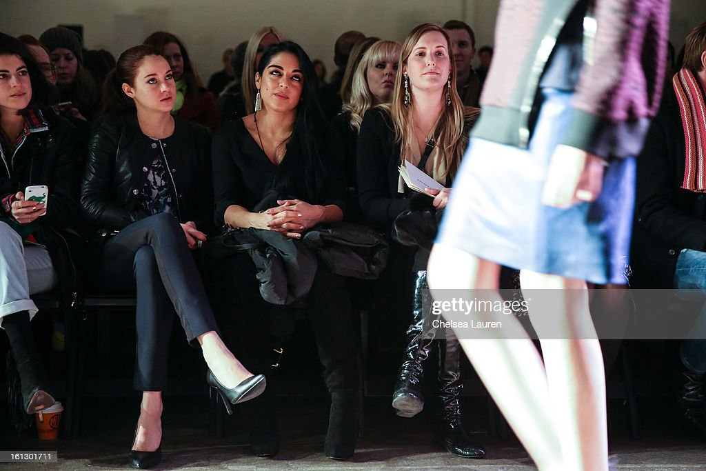 Actress <a gi-track='captionPersonalityLinkClicked' href=/galleries/search?phrase=Shailene+Woodley&family=editorial&specificpeople=676833 ng-click='$event.stopPropagation()'>Shailene Woodley</a> (L) attends the Rebecca Taylor fall 2013 fashion show during Mercedes-Benz Fashion Week at Highline Stages on February 9, 2013 in New York City.