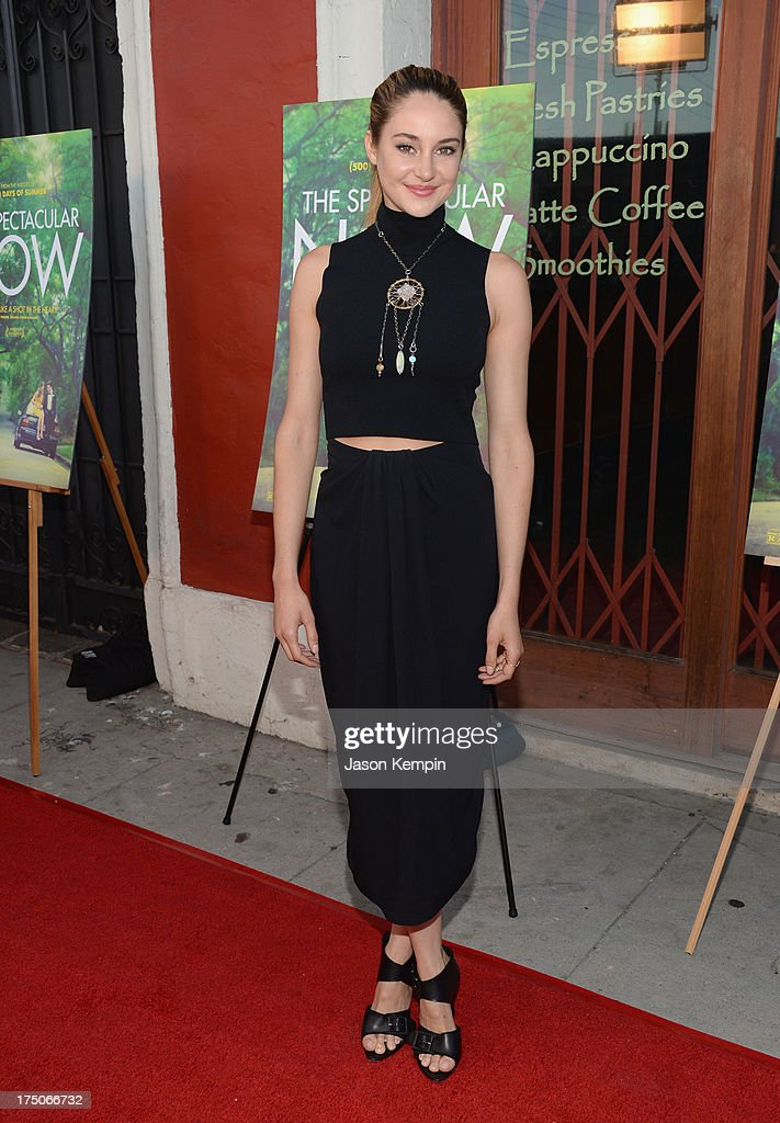 Actress <a gi-track='captionPersonalityLinkClicked' href=/galleries/search?phrase=Shailene+Woodley&family=editorial&specificpeople=676833 ng-click='$event.stopPropagation()'>Shailene Woodley</a> attends the screening of A24's 'The Spectacular Now' at the Vista Theatre on July 30, 2013 in Los Angeles, California.