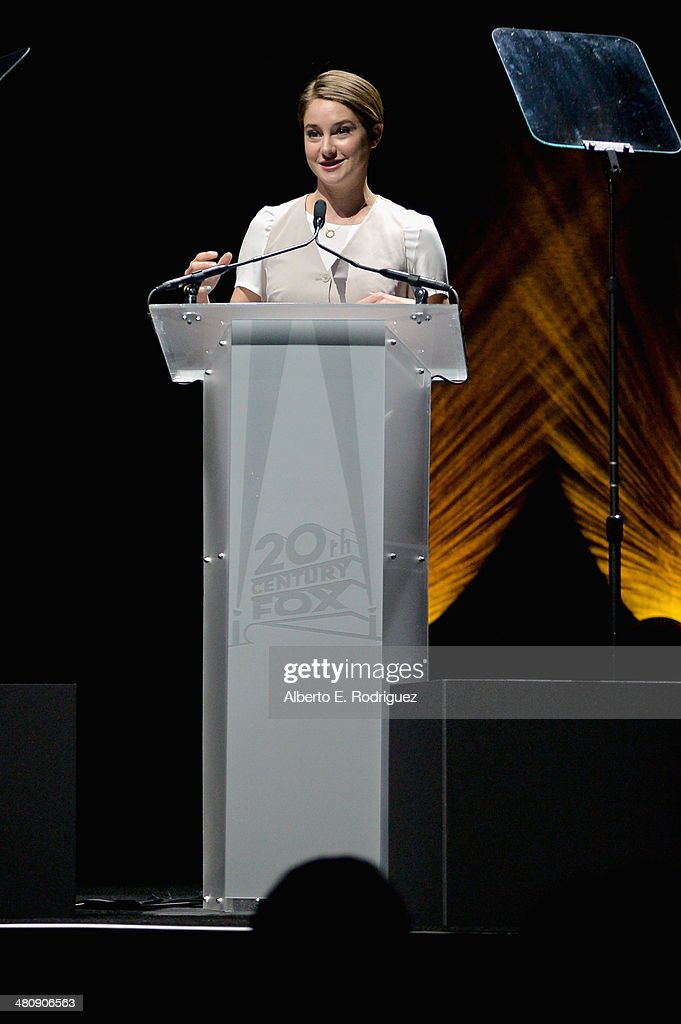 Actress <a gi-track='captionPersonalityLinkClicked' href=/galleries/search?phrase=Shailene+Woodley&family=editorial&specificpeople=676833 ng-click='$event.stopPropagation()'>Shailene Woodley</a> onstage during 20th Century Fox's Special Presentation Highlighting Its Future Release Schedule during CinemaCon, the official convention of the National Association of Theatre Owners, at The Colosseum at Caesars Palace on March 27, 2014 in Las Vegas, Nevada.