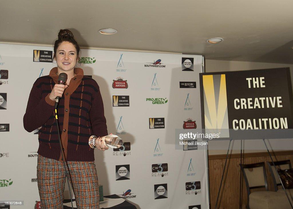 Actress Shailene Woodley speaks at 2013 Creative Coalition Spotlight Initiative Gala Awards Dinner - 2013 Sundance Film Festival at The Sky Lodge on January 19, 2013 in Park City, Utah.