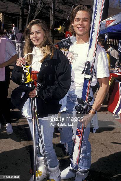 Actress Shalane McCall and actor Brad Pitt attend the Fifth Annual Steve Kanaly Celebrity Invitational Ski Classic to Benefit the March of Dimes on...
