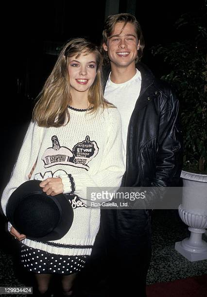 Actress Shalane McCall and actor Brad Pitt attend the Seventh Annual Jimmy Stewart Relay Marathon KickOff Cocktail Receptionon January 14 1988 at...