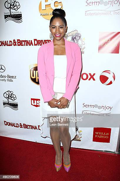 Actress Shanica Knowles arrives at The KIS Foundation's 12th Annual Celebrity Bowling Challenge at PINZ Entertainment Center on September 26 2015 in...