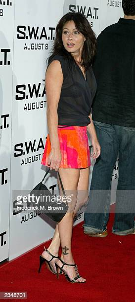 Actress Shannen Doherty attends the world premiere of Columbia Pictures' film 'SWAT' at the Mann Village Theatre July 29 2003 in Westwood California...