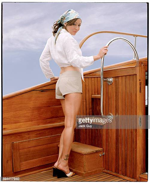 Actress Shannen Doherty onboard the yacht Lucky