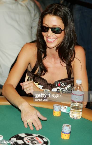 Actress Shannon Elizabeth competes in the Ante Up for Africa celebrity poker tournament during the World Series of Poker at the Rio Hotel Casino July...