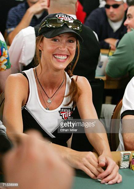 Actress Shannon Elizabeth competes on the second day of the first round of the World Series of Poker nolimit Texas Hold 'em main event at the Rio...