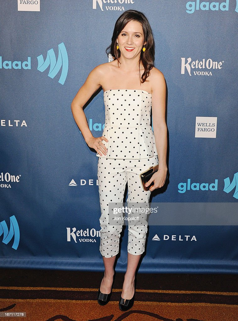 Actress Shannon Woodward arrives at the 24th Annual GLAAD Media Awards at JW Marriott Los Angeles at L.A. LIVE on April 20, 2013 in Los Angeles, California.