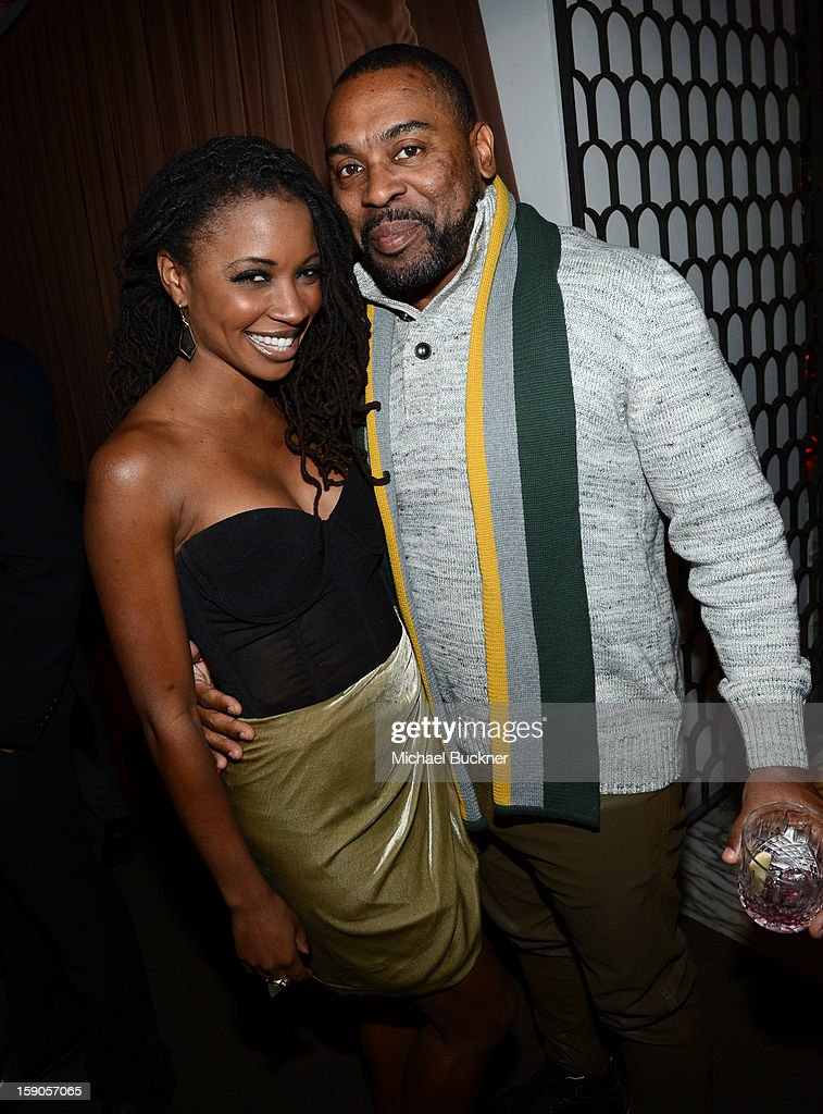Actress Shanola Hampton (L) and John Shango attend the Audi Golden Globes Kick Off 2013 at Cecconi's Restaurant on January 6, 2013 in Los Angeles, California.