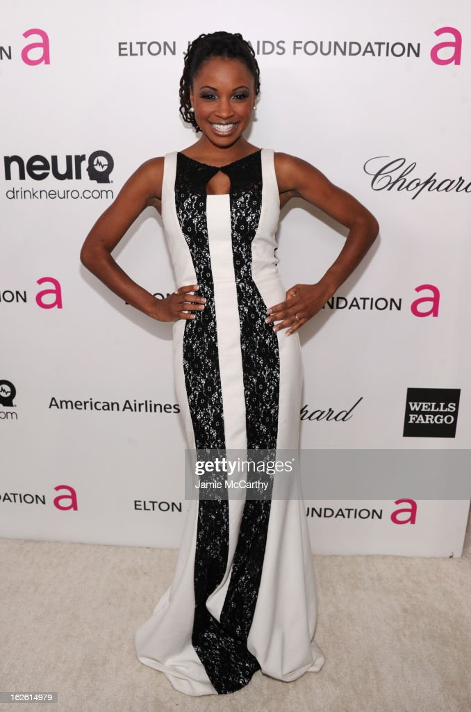 Actress <a gi-track='captionPersonalityLinkClicked' href=/galleries/search?phrase=Shanola+Hampton&family=editorial&specificpeople=2129035 ng-click='$event.stopPropagation()'>Shanola Hampton</a> attends the 21st Annual Elton John AIDS Foundation Academy Awards Viewing Party at West Hollywood Park on February 24, 2013 in West Hollywood, California.