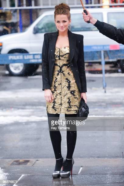 Actress Shantel Vansanten walks in Bryant Park on February 16 2010 in New York City