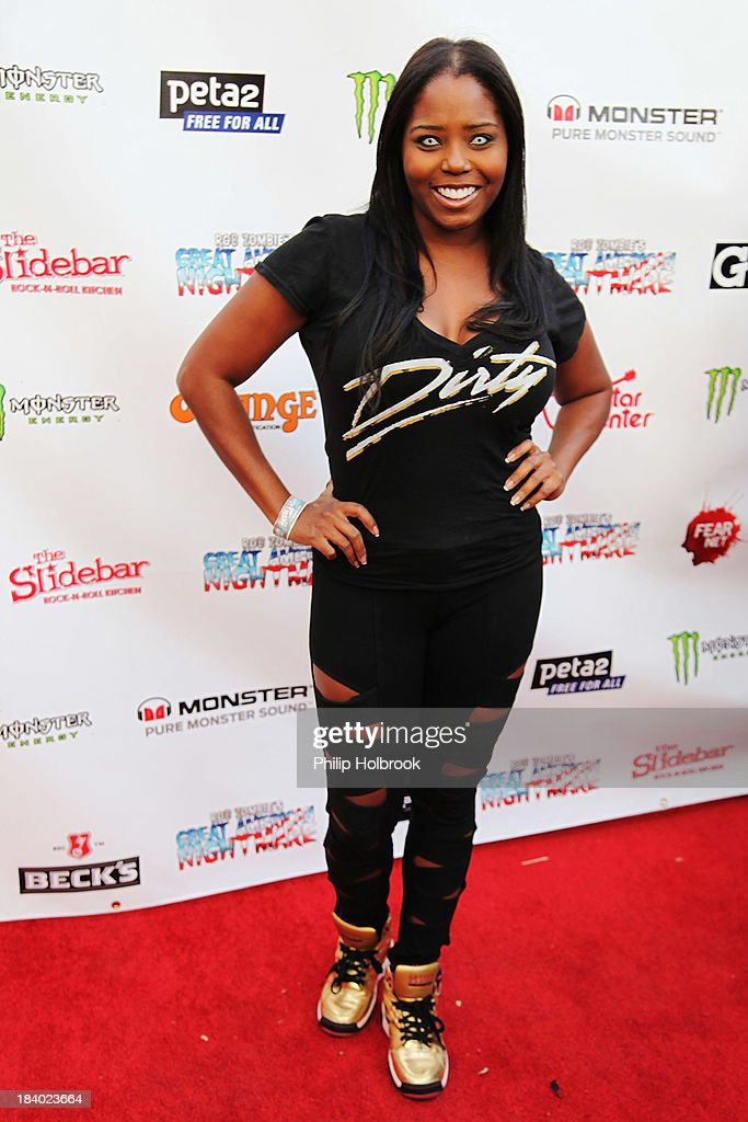 Actress <a gi-track='captionPersonalityLinkClicked' href=/galleries/search?phrase=Shar+Jackson&family=editorial&specificpeople=228034 ng-click='$event.stopPropagation()'>Shar Jackson</a> arrives at the VIP opening night party at Rob Zombie's Great American Nightmare held at the Fairplex on October 10, 2013 in Pomona, California