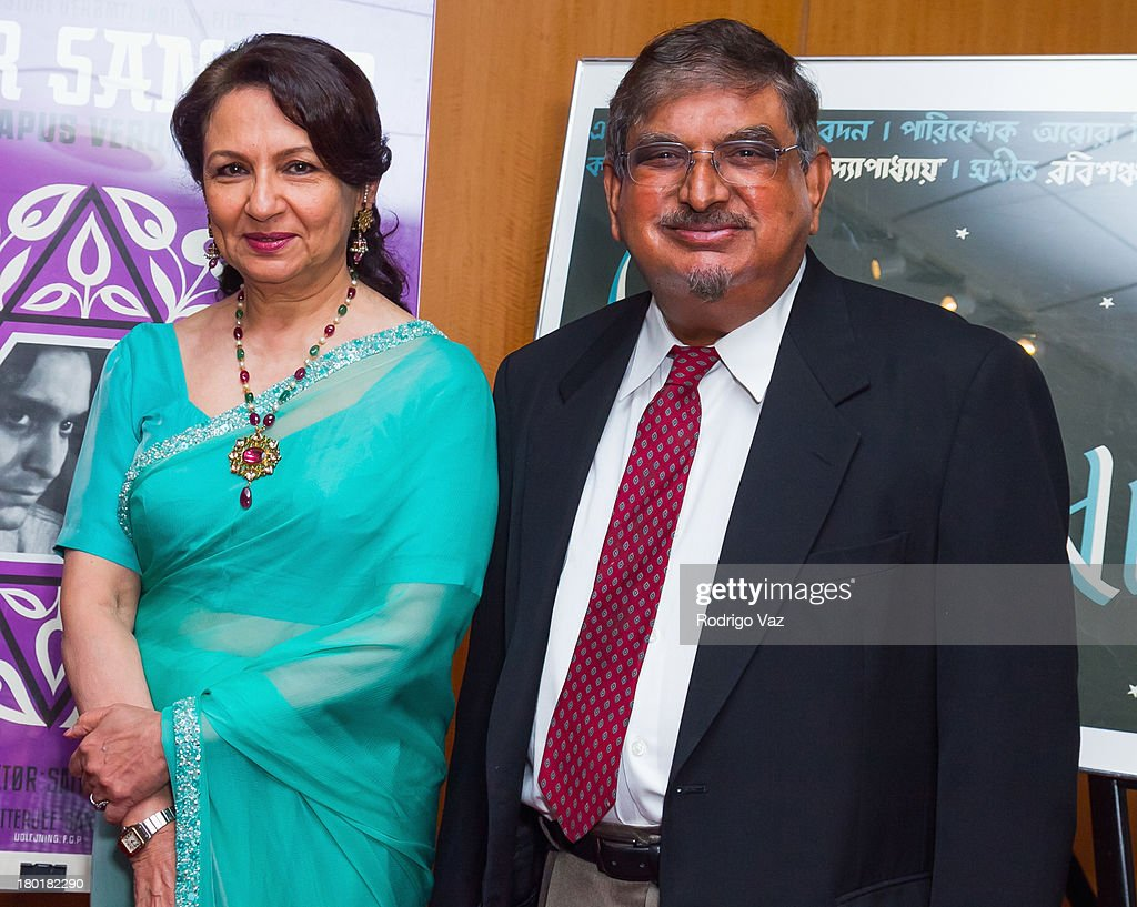 Actress <a gi-track='captionPersonalityLinkClicked' href=/galleries/search?phrase=Sharmila+Tagore&family=editorial&specificpeople=2523120 ng-click='$event.stopPropagation()'>Sharmila Tagore</a> (L) and Director of the Satyajit Ray Film and Study Center Collection at UCSC Dilip Basu attends the Academy of Motion Picture Arts and Sciences' Screening of 'Apur Sansar (The World Of Apu)' at AMPAS Samuel Goldwyn Theater on September 9, 2013 in Beverly Hills, California.