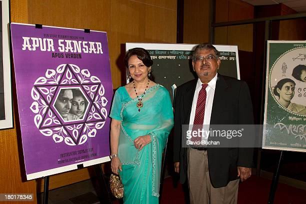 Actress Sharmila Tagore and Professor Dilip Basu attend The Academy Of Motion Picture Arts And Sciences' Screening Of 'Apur Sansar ' at AMPAS Samuel...