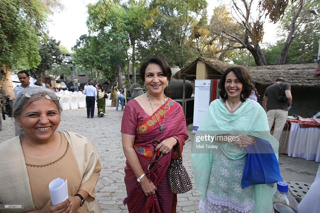 Actress <a gi-track='captionPersonalityLinkClicked' href=/galleries/search?phrase=Sharmila+Tagore&family=editorial&specificpeople=2523120 ng-click='$event.stopPropagation()'>Sharmila Tagore</a> at the launch of a collection titled Ananta by the SEWA Trade Facilitation Centre at the National Crafts Museum in New Delhi on March 26, 2010.