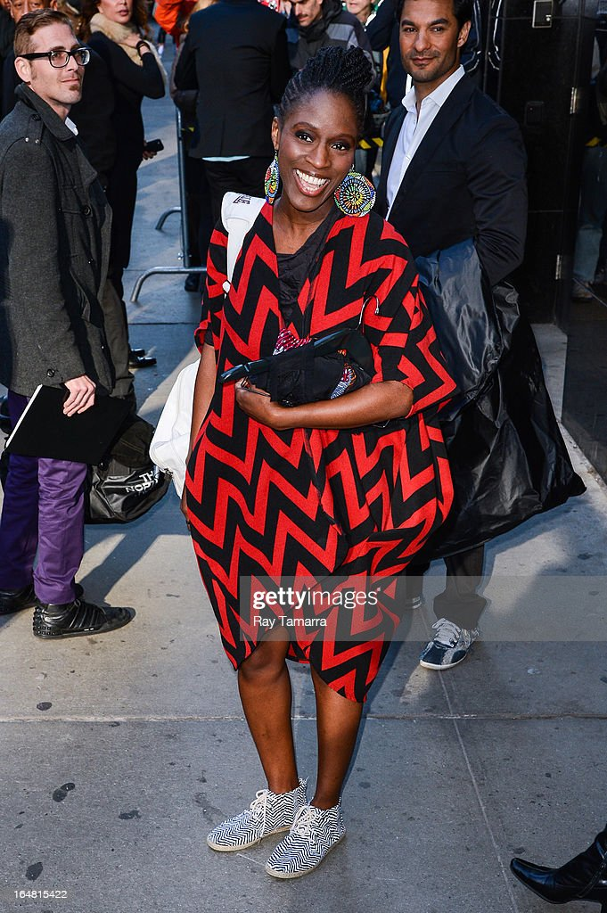 Actress Sharon Duncan Brewster leaves the 'Good Morning America' taping at the ABC Times Square Studios on March 28, 2013 in New York City.