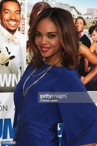 Actress Sharon Leal arrives at the Los Angeles premiere of 'Jumping The Broom' at ArcLight Cinemas Cinerama Dome on May 4 2011 in Hollywood California