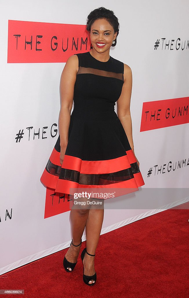 Actress Sharon Leal arrives at the Los Angeles premiere of 'The Gunman' at Regal Cinemas L.A. Live on March 12, 2015 in Los Angeles, California.