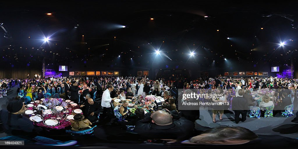 Actress <a gi-track='captionPersonalityLinkClicked' href=/galleries/search?phrase=Sharon+Stone&family=editorial&specificpeople=156409 ng-click='$event.stopPropagation()'>Sharon Stone</a> (L) and designer Roberto Cavalli attend amfAR's 20th Annual Cinema Against AIDS during The 66th Annual Cannes Film Festival at Hotel du Cap-Eden-Roc on May 23, 2013 in Cap d'Antibes, France.