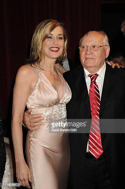 Actress Sharon Stone and Former Soviet leader Mikhail Gorbachev attend the Gorby 80 Gala at the Royal Albert Hall on March 30 2011 in London England...