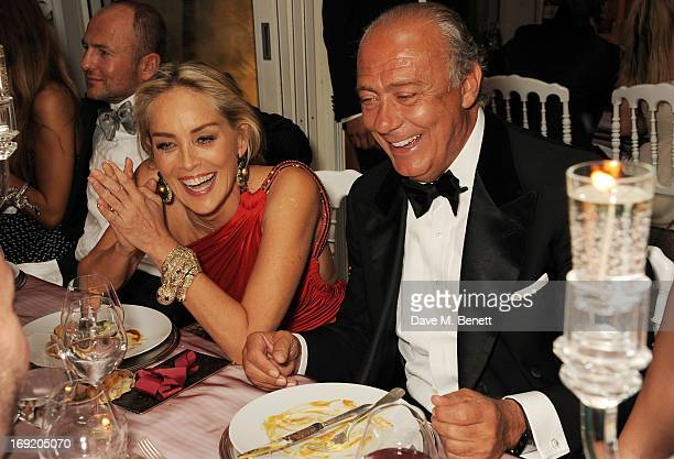 Actress Sharon Stone and Founder and President of de Grisogono Fawaz Gruosi attend a cocktail reception at the de Grisogono Party during the 66th...