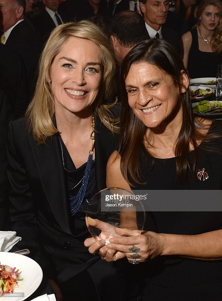Actress Sharon Stone and honoree Aileen Getty attend the 2013 amfAR Inspiration Gala Los Angeles presented by MAC Viva Glam at Milk Studios on...