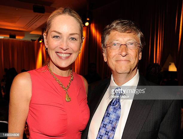 Actress Sharon Stone and honoree Bill Gates attend Together To End AIDS An Evening To Benefit amfAR and GBCHealth at John F Kennedy Center for the...