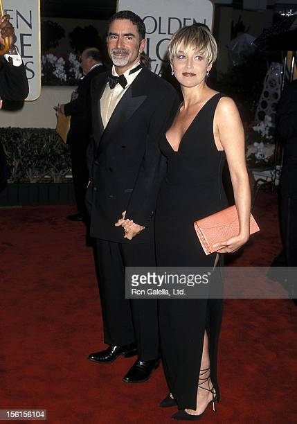 Actress Sharon Stone and husband Phil Bronstein attend the 57th Annual Golden Globe Awards on January 23 2000 at Beverly Hilton Hotel in Beverly...