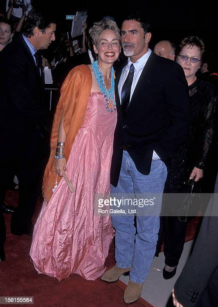 Actress Sharon Stone and husband Phil Bronstein attend 'The Muse' Beverly Hills Premiere on August 16 1999 at the Academy Theatre in Beverly Hills...
