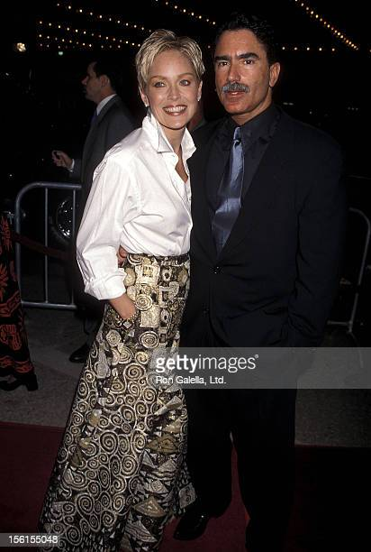 Actress Sharon Stone and husband Phil Bronstein attends 'The Mighty' Century City Premiere on October 7 1998 at Cineplex Odeon Century Plaza Cinemas...