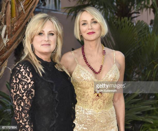 Actress Sharon Stone and philanthropist Kelly Stone attend Lupus LA's 2017 Orange Ball Rocket To A Cure at California Science Center on April 22 2017...