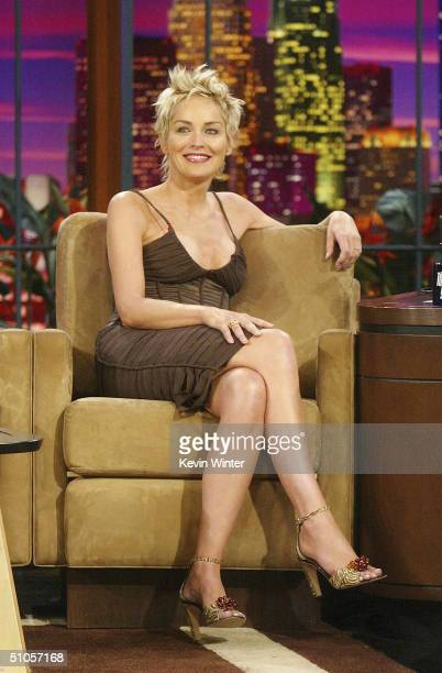 Actress Sharon Stone appears on 'The Tonight Show with Jay Leno' at the NBC Studios on July 13 2004 in Burbank California