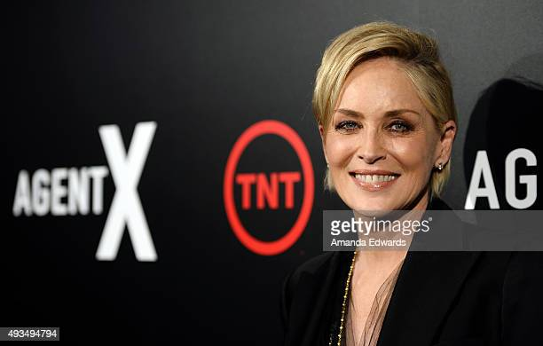 Actress Sharon Stone arives at the premiere of TNT's 'Agent X' at The London West Hollywood on October 20 2015 in West Hollywood California