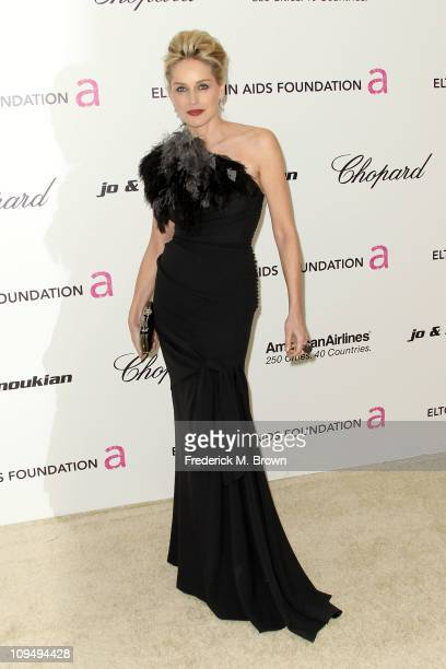 Actress Sharon Stone arrives at the 19th Annual Elton John AIDS Foundation's Oscar viewing party held at the Pacific Design Center on February 27...