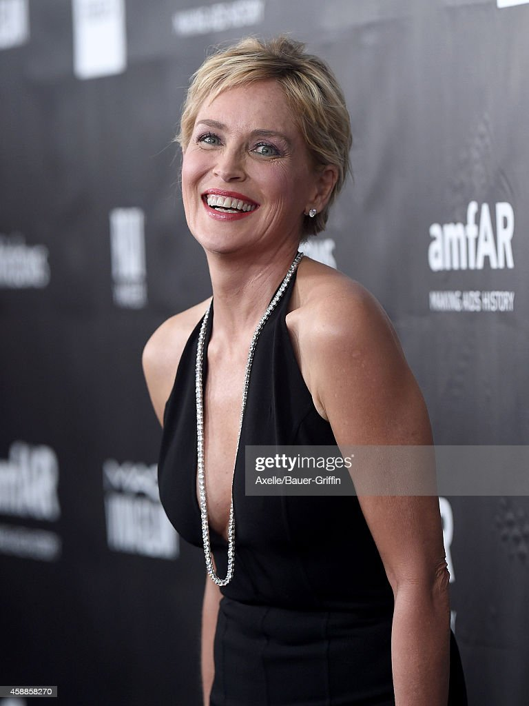 Actress Sharon Stone arrives at the 2014 amfAR LA Inspiration Gala at Milk Studios on October 29, 2014 in Hollywood, California.