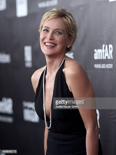 Actress Sharon Stone arrives at the 2014 amfAR LA Inspiration Gala at Milk Studios on October 29 2014 in Hollywood California
