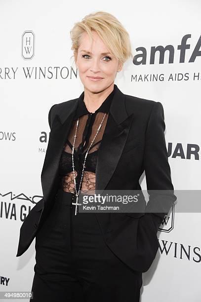 Actress Sharon Stone arrives at the amfAR Inspiration Gala at Milk Studios on October 29 2015 in Hollywood California