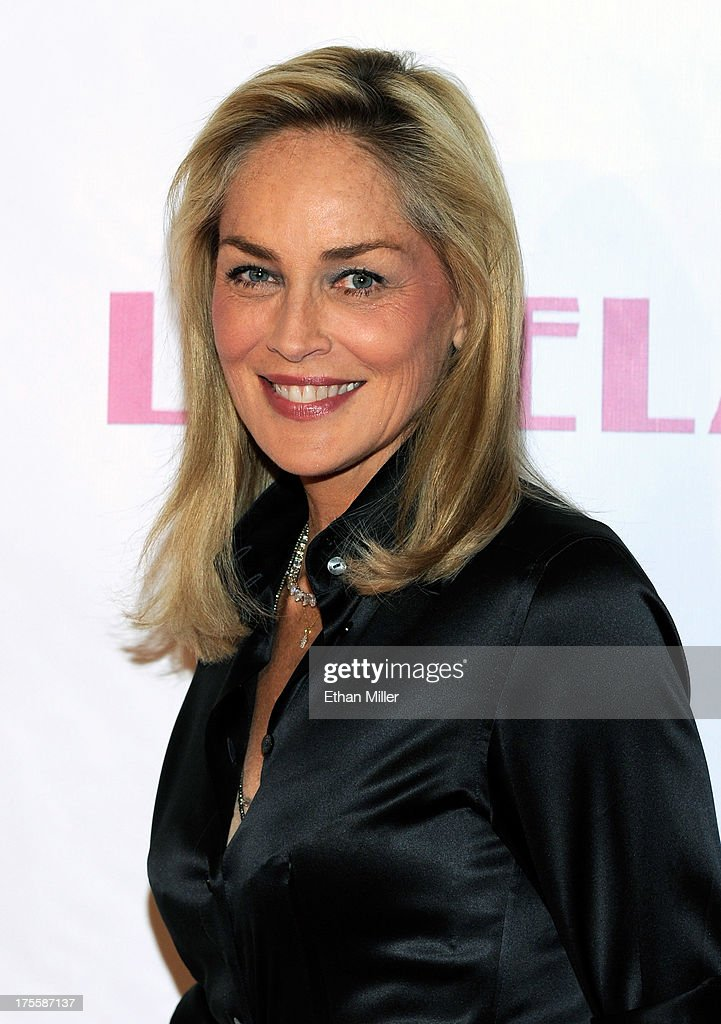 Actress <a gi-track='captionPersonalityLinkClicked' href=/galleries/search?phrase=Sharon+Stone&family=editorial&specificpeople=156409 ng-click='$event.stopPropagation()'>Sharon Stone</a> arrives at the Las Vegas premiere of the movie 'Lovelace' at Planet Hollywood Resort & Casino on August 4, 2013 in Las Vegas, Nevada.