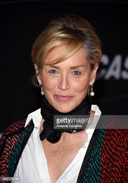 Actress Sharon Stone arrives at the Petersen Automotive Museum Grand ReOpening at the Petersen Automotive Museum on December 5 2015 in Los Angeles...