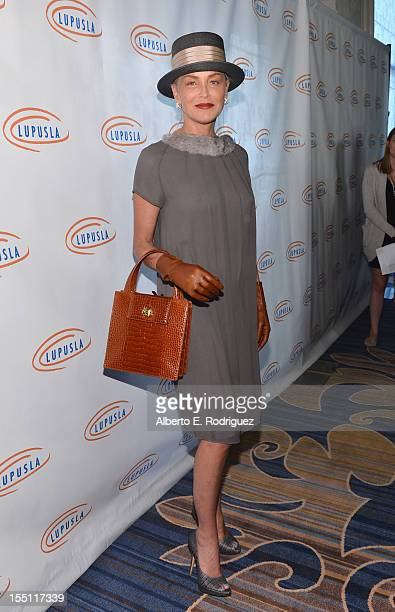 Actress Sharon Stone arrives to the Lupus LA 10th Anniversary Hollywood Bag Ladies Luncheon at Regent Beverly Wilshire Hotel on November 1 2012 in...