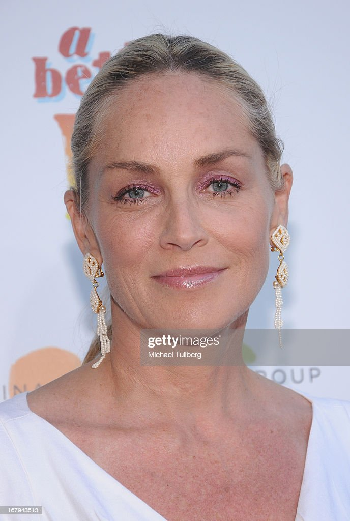 Actress <a gi-track='captionPersonalityLinkClicked' href=/galleries/search?phrase=Sharon+Stone&family=editorial&specificpeople=156409 ng-click='$event.stopPropagation()'>Sharon Stone</a> attends A Better LA's 'An Evening With A View' Annual Gala at AT&T Center on May 2, 2013 in Los Angeles, California.