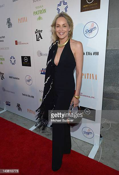 Actress Sharon Stone attends A Better LA's First Annual 'In the Art of the City' Gala held at the Vibiana on May 3 2012 in Los Angeles California
