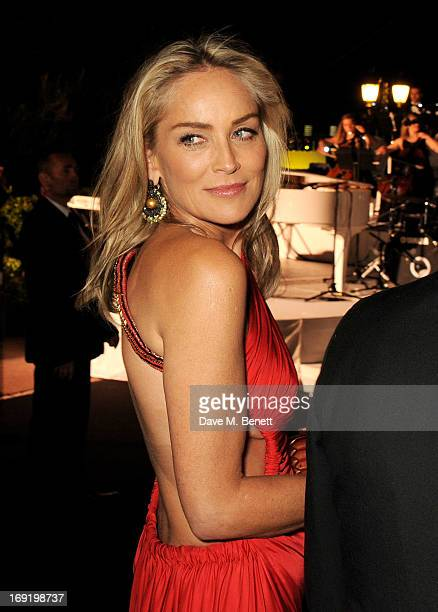 Actress Sharon Stone attends a cocktail reception at the de Grisogono Party during the 66th International Cannes Film Festival at Hotel Du Cap on May...