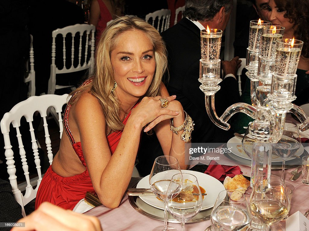 Actress <a gi-track='captionPersonalityLinkClicked' href=/galleries/search?phrase=Sharon+Stone&family=editorial&specificpeople=156409 ng-click='$event.stopPropagation()'>Sharon Stone</a> attends a cocktail reception at the de Grisogono Party during the 66th International Cannes Film Festival at Hotel Du Cap on May 21, 2013 in Antibes, France.