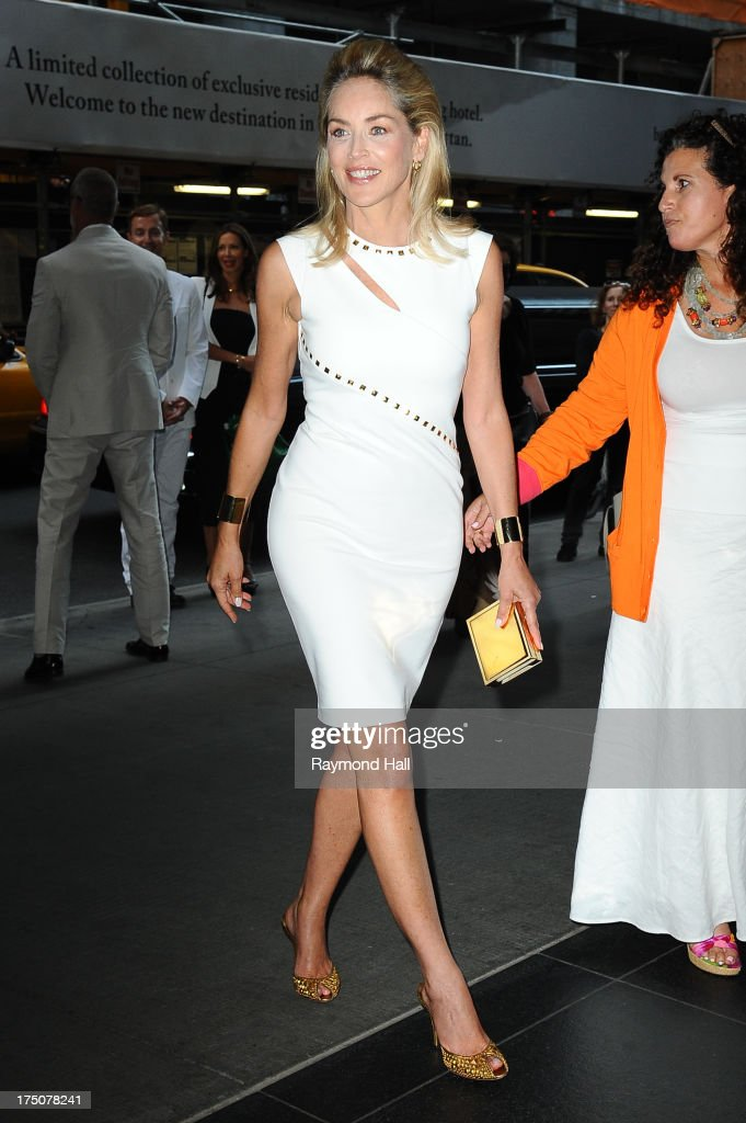 Actress Sharon Stone attends a screening of Radius TWC's 'Lovelace' hosted by The Cinema Society and MCM with Grey Goose at The Museum of Modern Art on July 30, 2013 in New York City.